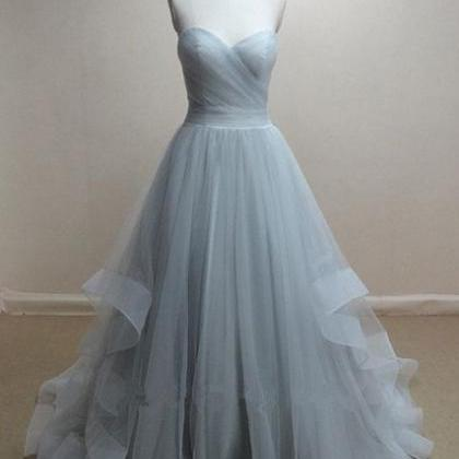 Sweetheart TulleProm Dresses,Grey P..