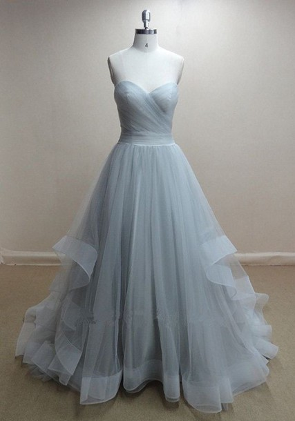 Sweetheart TulleProm Dresses,Grey Prom Dress,Evening Dress