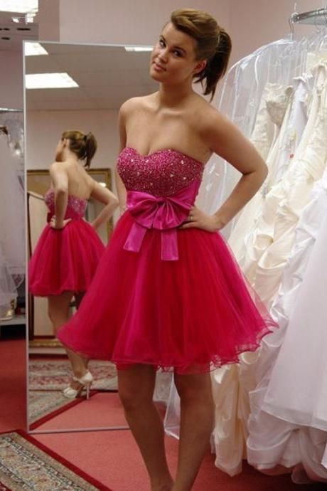 Sparkly Beaded Sweetheart Mini Graduation Dresses, Short Bow Lovely Homecoming Dresses