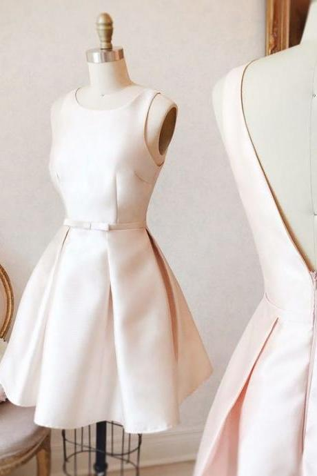 Creamy White Satin Homecoming Dress, Open Back Homecoming Dress