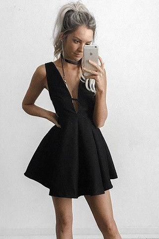 Black Deep V Neck Homecoming Dress, Short Sexy Homecoming Dresses