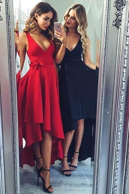 Red Long Sexy Homecoming Dress, Deep V Neck Homecoming Dress