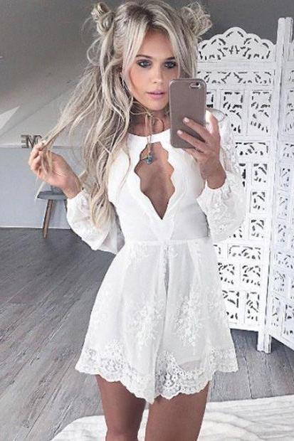 White Lace Sexy Homecoming Dress, Long Sleeve Homecoming Dress