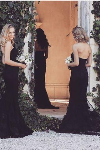 Black Lace Sweetheart Floor Length Mermaid Bridesmaid Dress