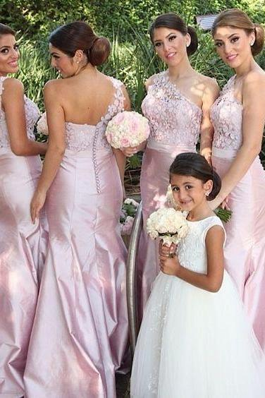 Pink Mermaid Bridesmaid Dress, Lace Bridesmaid Gowns for Wedding