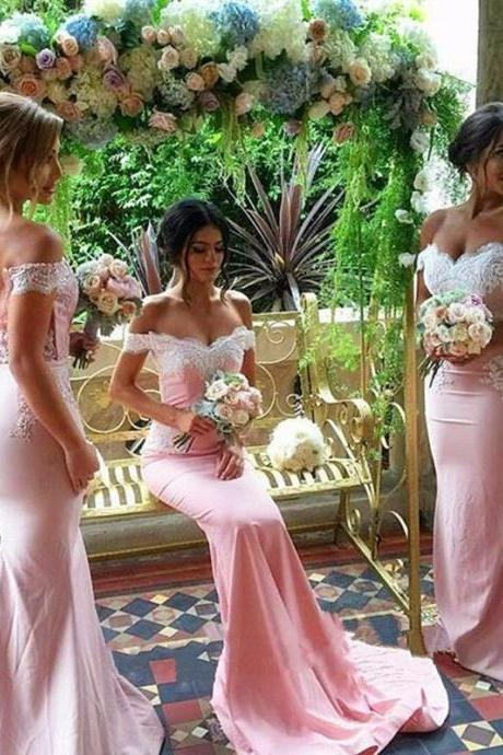 Pink Off the Shoulder Lace Bridesmaid Dress for Wedding