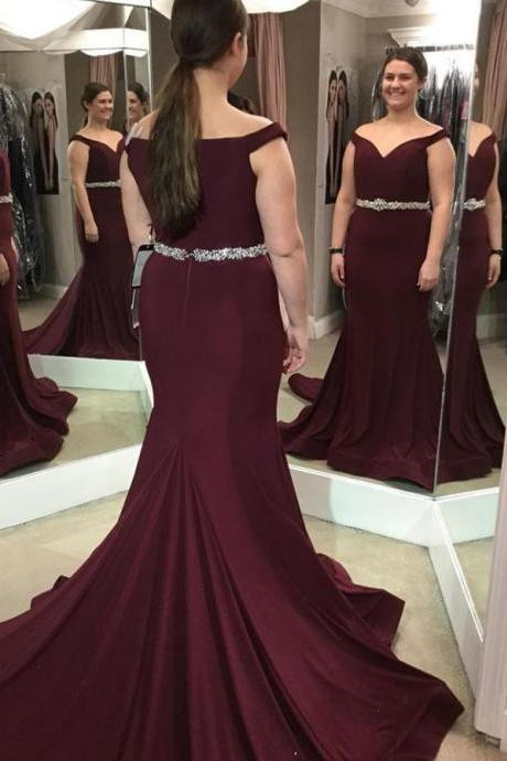 Off Shoulder Burgundy Prom Dresses Mermaid Pageant Dress with Beaded Waist