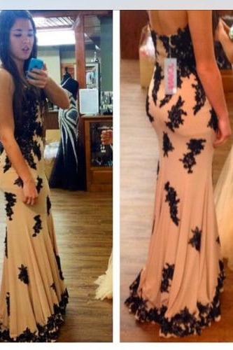 Tailor-made Prom Dresses, Black prom dress, Black Prom dresses 2016, Lace Prom Dress