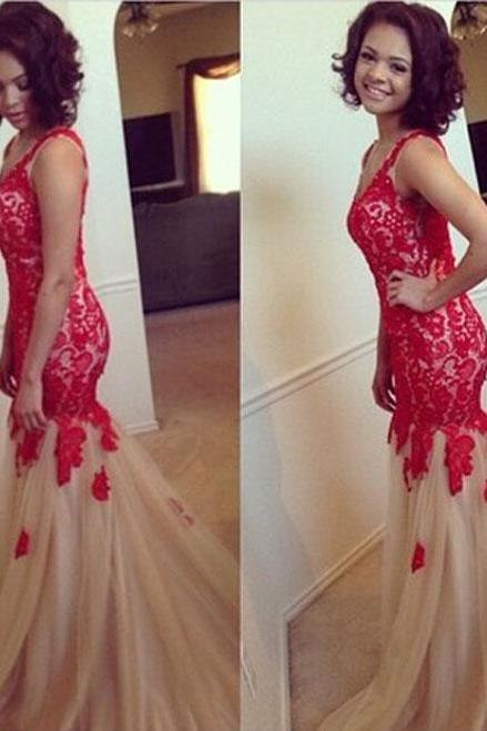 Prom Dresses 2016, Red Lace Mermaid Prom Dresses, Mermaid Prom Dress, Red Prom Dress 2016
