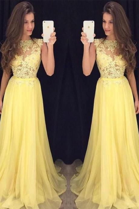 Lace Chiffon Prom Dresses,Sleeveless Evening Dress, A-line Yellow Long Dress