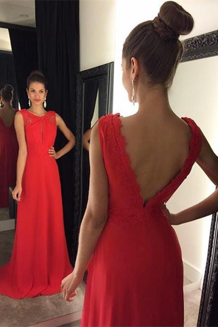 Red Chiffon Long Prom Dresses,A-Line Open Back Sweep Train Evening Dress