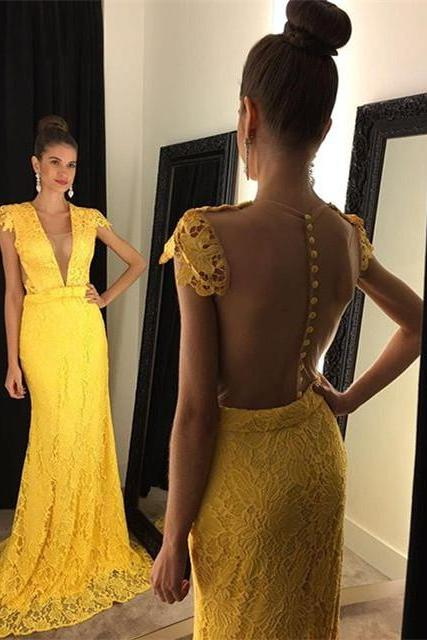 Mermaid Lace Prom Dresses,Plunging Neck Evening Dress,Yellow Dress