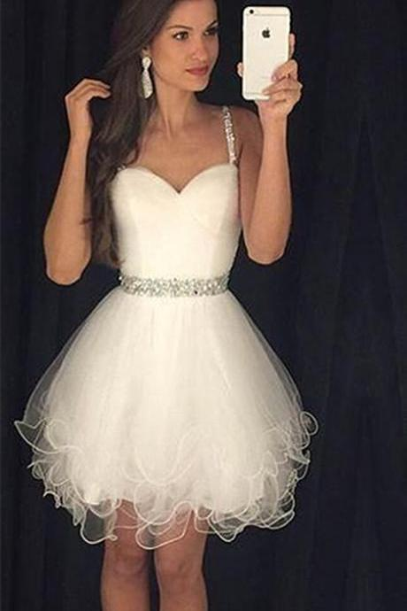 Straps Beading Prom Dress,Puffy Organza Evening Dresses with Crystal Belt,Sweetheart White Dress