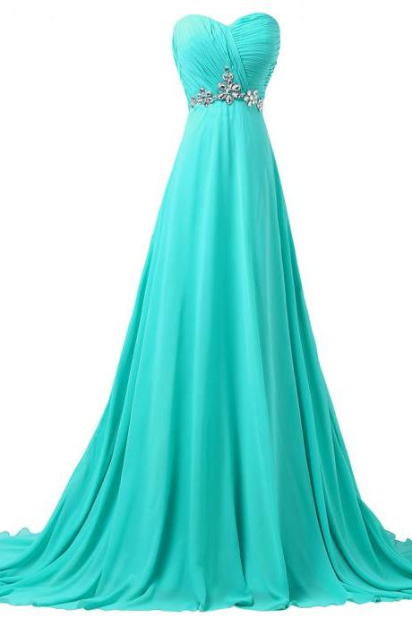 A-line Prom Dress,Sweetheart Beaded Evening Dress,Long Chiffon Dress