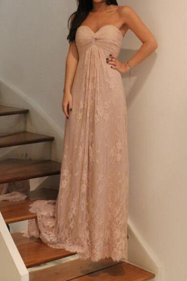 Champagne Lace Prom Dresses,Sweetheart Prom Dress,Evening Dress