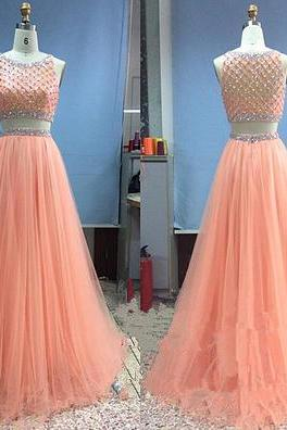 Elegant Two Piece Prom Dresses,Coral Prom Dress