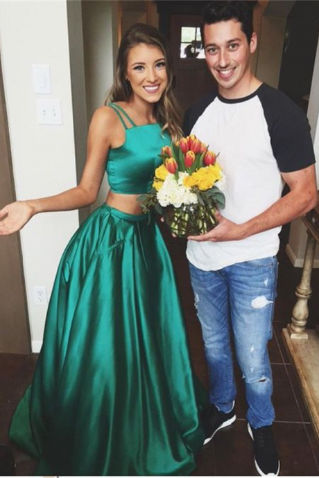 Two Piece Prom Dresses,Green Long Prom Dress,Evening Dresses