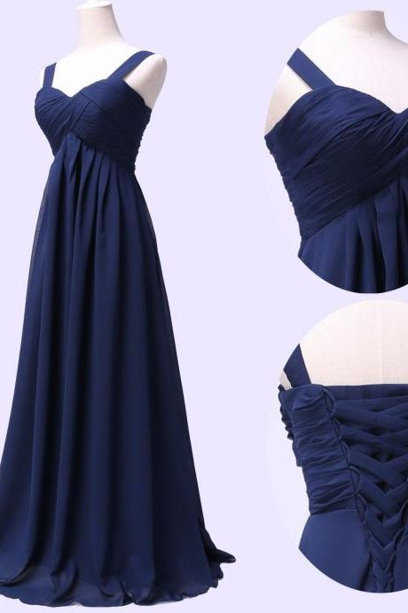 Navy Blue Prom Dresses,Straps Chiffon Prom Dress,Evening Dresses