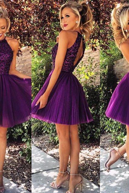 Halter Purple Prom Dresses,Short Homecoming Dress