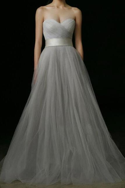 Light Grey Sweetheart Strapless Long Chiffon Prom Dress/Evening Dress YSG1002
