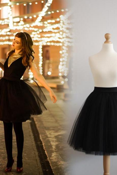 Black A-Line Tulle Skirt,Short Mini Skirt MGY1001