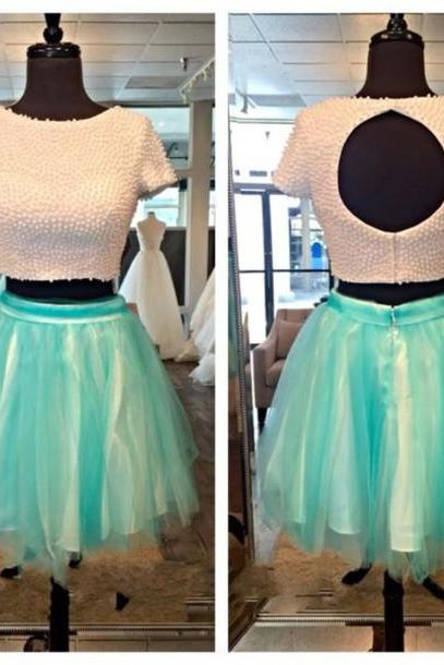 Two Piece Homecoming Dress,Short Sleeve Homecoming Dresses