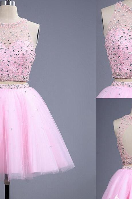 Two Piece Homecoming Dress,Pink Homecoming Dresses