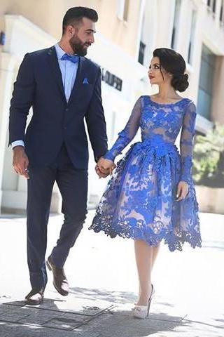 Elegant Lace Homecoming Dress,Knee Length Homecoming Dresses
