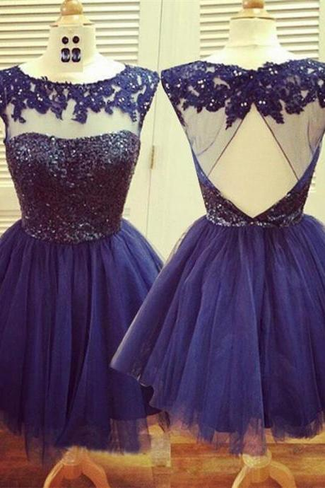 Applique Beading Homecoming Dress,Lace Tulle Homecoming Dresses