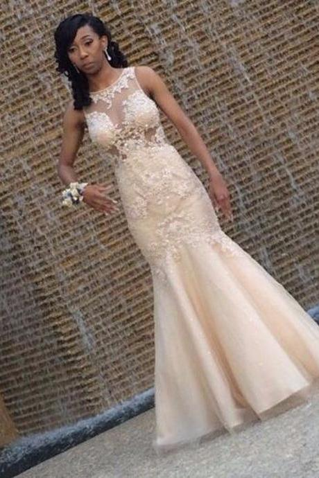 Sleeveless Mermaid Prom Dresses,Lace Tulle Prom Dress