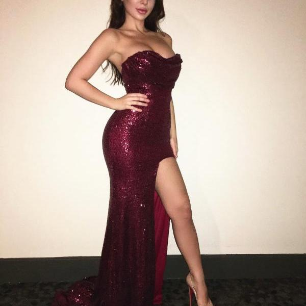Burgundy Red Prom Dress,Sequins Mermaid Evening Pageant Dresses
