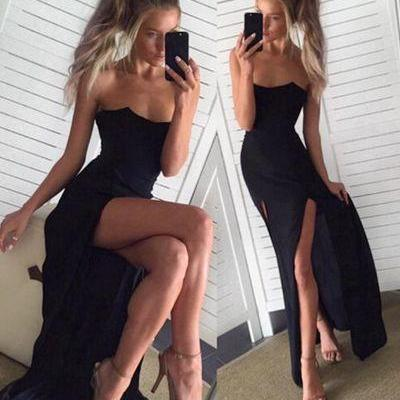 Black Chiffon Prom Dress, Slit Pageant Dresses