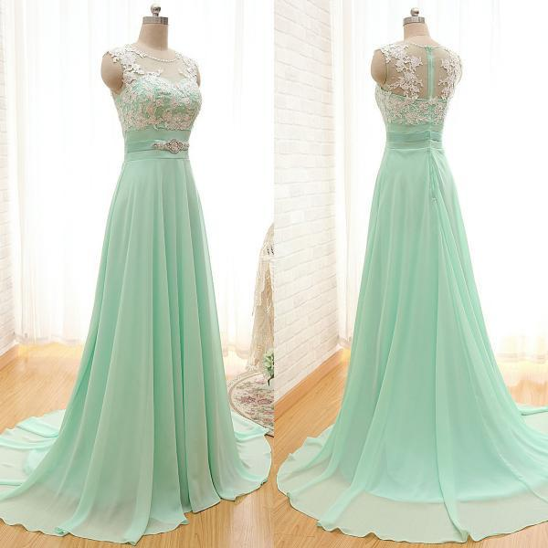 Mint green a line chiffon sleeveless prom dresses on luulla for Light in the box wedding dress reviews