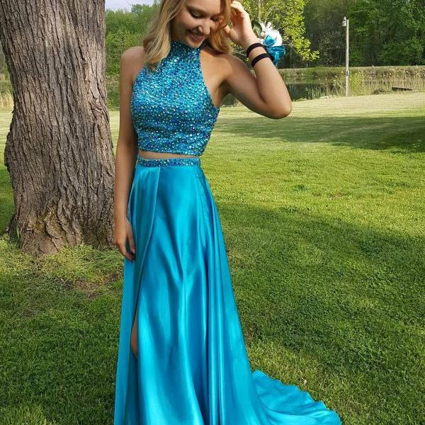 Two Piece Prom Dresses,Teal Green High Neck Prom Dress,Evening Dress